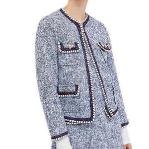 Zara Blue Tweed Pocketed Blazer with Trim
